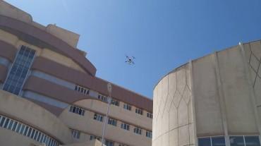 پرواز پهپاد محلول پاش رایان برای گند زدایی بیمارستان شهید جلیل
